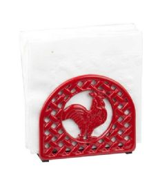 6 Units of Home Basics Cast Iron Rooster Napkin Holder, Red - Napkin and Paper Towel Holders