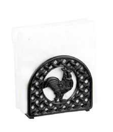 6 Units of Home Basics Cast Iron Rooster Napkin Holder, Black - Napkin and Paper Towel Holders