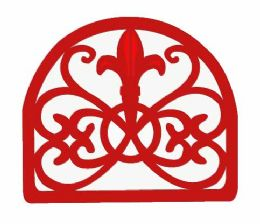 6 Units of Home Basics Cast Iron Fleur De Lis Napkin Holder, Red - Napkin and Paper Towel Holders
