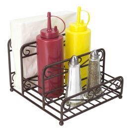 12 Units of Home Basics Scroll Collection Steel Salt And Pepper Napkin Caddy, Bronze - Napkin and Paper Towel Holders