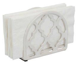 6 Units of Home Basics Lattice Collection Cast Iron Napkin Holder, White - Napkin and Paper Towel Holders