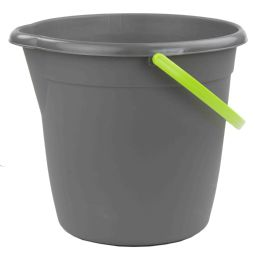 12 Units of Home Basics Brilliant Cleaning Bucket, Grey/lime - Cleaning Products