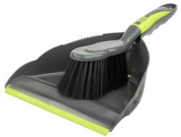 12 Units of Home Basics Brilliant Dust Pan Set, Grey/lime - Cleaning Products
