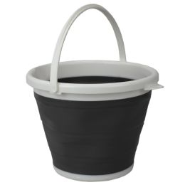 12 Units of Home Basics 10 LT Collapsible Plastic Bucket, Grey - Cleaning Products