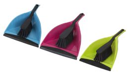 12 Units of Home Basics Brights Collection Dust Pan Set - Cleaning Products