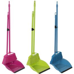 18 Units of Home Basics Brights Collection 2 Piece Sweeper Set - Cleaning Products