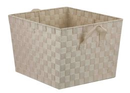 12 Units of Home Basics X-Large Polyester Woven Strap Open Bin, Ivory - Home Accessories
