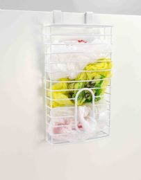 6 Units of Home Basics Over the Cabinet  Plastic Bag Organizer and Grocery Bag Holder, White - Napkin and Paper Towel Holders