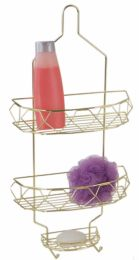 6 Units of Home Basics Prism 2 Tier Shower Caddy with Built-in Hooks, Gold - Shower Accessories