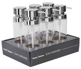 24 Units of Home Basics 12 oz. Stainless Steel Round Soap Dispenser, Clear - Soap Dishes & Soap Dispensers