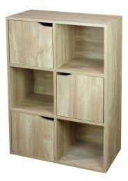 Home Basics 6 Cube Wood Storage Shelf With Doors, Natural - Furniture
