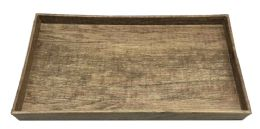 6 Units of Home Basics Wood-Like Rustic Serving Tray With CuT-Out Handles, Brown - Serving Trays