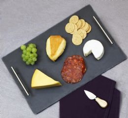 4 Units of Home Basics Slate Serving Tray With Stainless Steel Handles, Black - Serving Trays