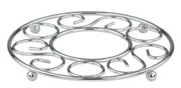 6 Units of Home Basics Scroll Collection Chrome Plated Steel Trivet - Coasters & Trivets