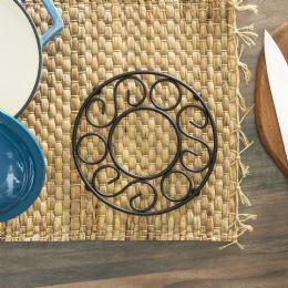 12 Units of Home Basics  Scroll Collection Steel Trivet, Black - Coasters & Trivets