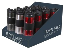 12 Units of Home Basics Stainless Steel Travel Mug With Rubber Grip - Drinking Water Bottle