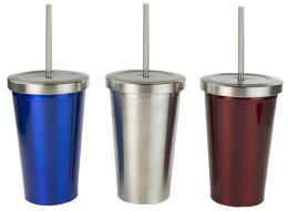 12 Units of Home Basics Stainless Steel Tumbler With Straw - Drinking Water Bottle