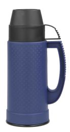 12 Units of Home Basics .5 Liter Plastic And Glass Insulated Travel Mug, Blue - Drinking Water Bottle