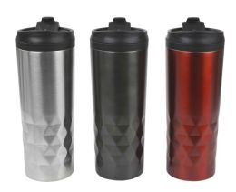 12 Units of Home Basics Prism Stainless Steel 18 Oz. Travel Mug - Drinking Water Bottle