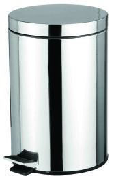 4 Units of Home Basics 12 Liter Polished Stainless Steel Round Waste Bin, Silver - Waste Basket