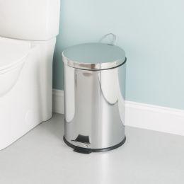2 Units of Home Basics 20 Liter Polished Stainless Steel Round Waste Bin, Silver - Waste Basket
