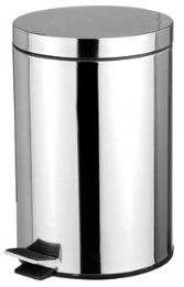 12 Units of Home Basics 5 Liter Polished Stainless Steel Round Waste Bin, Silver - Waste Basket