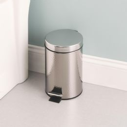 6 Units of Home Basics Hammered Stainless Steel Waste Bin - Waste Basket
