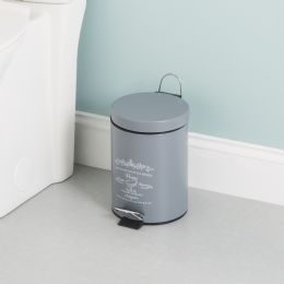 6 Units of Home Basics Paris 3 Liter Waste Bin, Grey - Waste Basket