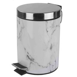 6 Units of Home Basics Faux Marble 3 Liter Waste Bin, White - Waste Basket