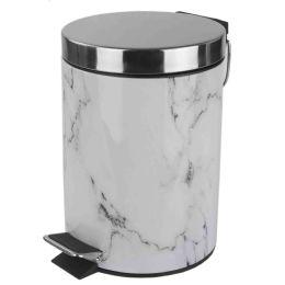 6 Units of Home Basics Faux Marble 3 Liter Waste Bin, White - Waste Basket