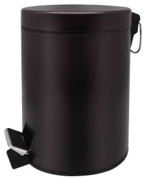 6 Units of Home Basics 5 Liter Round Waste Bin, Bronze - Waste Basket