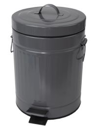 6 Units of Home Basics Oscar 5 Lt Step Stainless Steel Waste Bin, Grey - Waste Basket