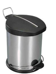 6 Units of Home Basics 5 Liter Brushed Stainless Steel With Plastic Top Waste Bin, Silver - Waste Basket