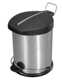 4 Units of Home Basics 12 Liter Brushed Stainless Steel With Plastic Top Waste Bin, Silver - Waste Basket
