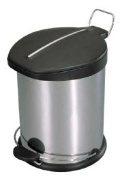 2 Units of Home Basics 20 Liter Brushed Stainless Steel With Plastic Top Waste Bin, Silver - Waste Basket