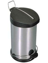 2 Units of Home Basics 30 Liter Brushed Stainless Steel With Plastic Top Waste Bin, Silver - Waste Basket