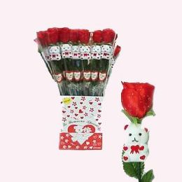 24 Units of Valentine 18 Inch Assorted Colors Roses With Teddy Bear - Valentine Decorations