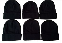288 Units of Winter Beanie Hat Black Only - Winter Beanie Hats