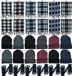 360 Units of Winter Bundle Care Kit Adult UniseX- Hats Gloves Beanie Fleece Scarf Set In Assorted Colors - Winter Care Sets