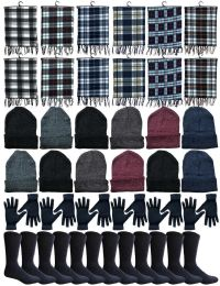 240 Units of Winter Bundle Care Kit For Men, 4 Piece - Hats Gloves Beanie Fleece Scarf Set In Assorted Colors - Winter Sets Scarves , Hats & Gloves
