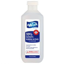 24 Units of Wish 12 Oz 50% Rubbing Alcohol - First Aid and Hygiene Gear