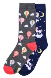 120 Units of Girls Printed Crew socks Size 6-8 - Womens Crew Sock