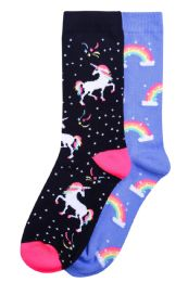 120 Units of Woman's Printed Crew socks Size 9-11 - Womens Crew Sock