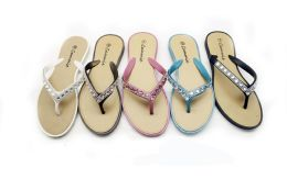 36 Units of Women Flip Flops With Glittering Straps In Assorted Color - Women's Flip Flops