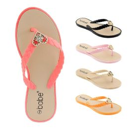 60 Units of Women's Flip Flop with Braided Straps and Crystal Heart Ornament - Women's Flip Flops