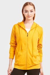 12 Units of Women's Lightweight Zip Up Hoodie Jacket Mustard Size Medium - Womens Active Wear