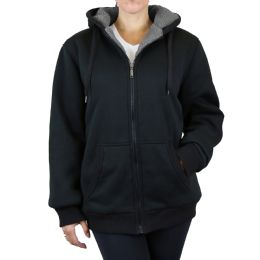 12 Units of Women's Loose Fit Oversize Full Zip Sherpa Lined Hoodie Fleece - Black Size Large - Womens Sweaters & Cardigan