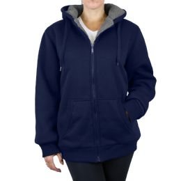 12 Units of Women's Loose Fit Oversize Full Zip Sherpa Lined Hoodie Fleece - Navy Size X Large - Womens Sweaters & Cardigan