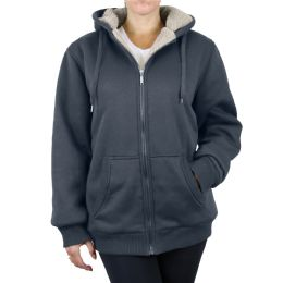 12 Units of Women's Loose Fit Oversize Full Zip Sherpa Lined Hoodie Fleece - Charcoal Size Large - Womens Sweaters & Cardigan