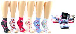 240 Units of Women's Pedicure Socks - Assorted Prints - Size 9-11 - Womens Ankle Sock